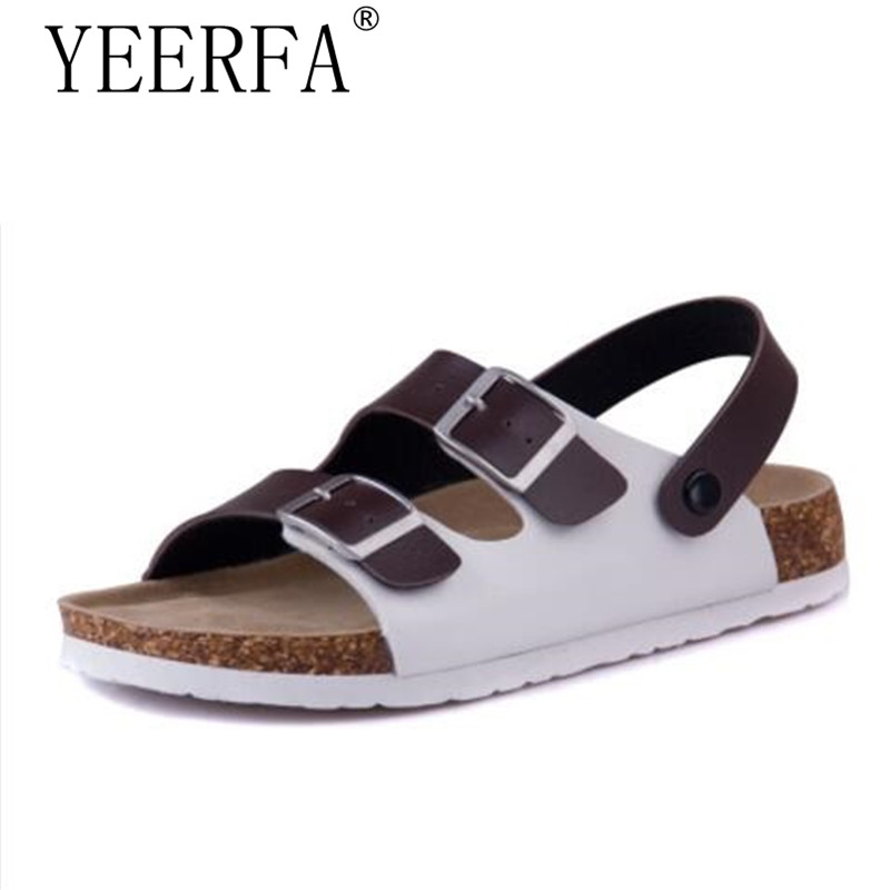 YEERFA 2018 Summer Men Sandals Cork Shoes Slippers Casual Outdoor Shoes Flats Buckle Fashion Beach Shoes Slides Plus Size 39-43 fashion women slippers flip flops summer beach cork shoes slides girls flats sandals casual shoes mixed colors plus size 35 43