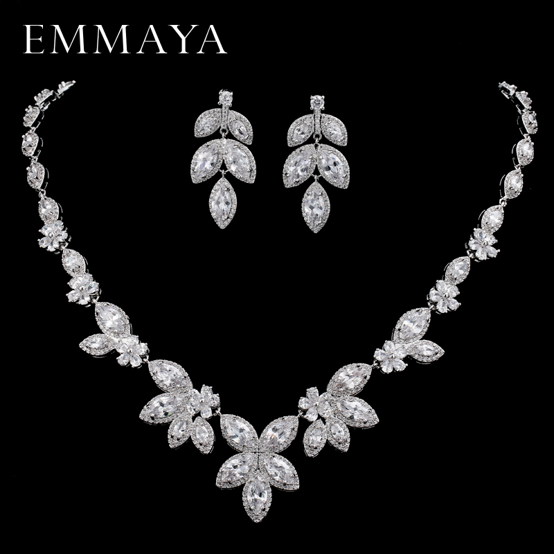 EMMAYA Silver-color Crystal Bridal Jewelry Sets Leaf Shape Choker Necklace Earrings Wedding Jewelry for Women pair of chic faux crystal waterdrop leaf earrings for women