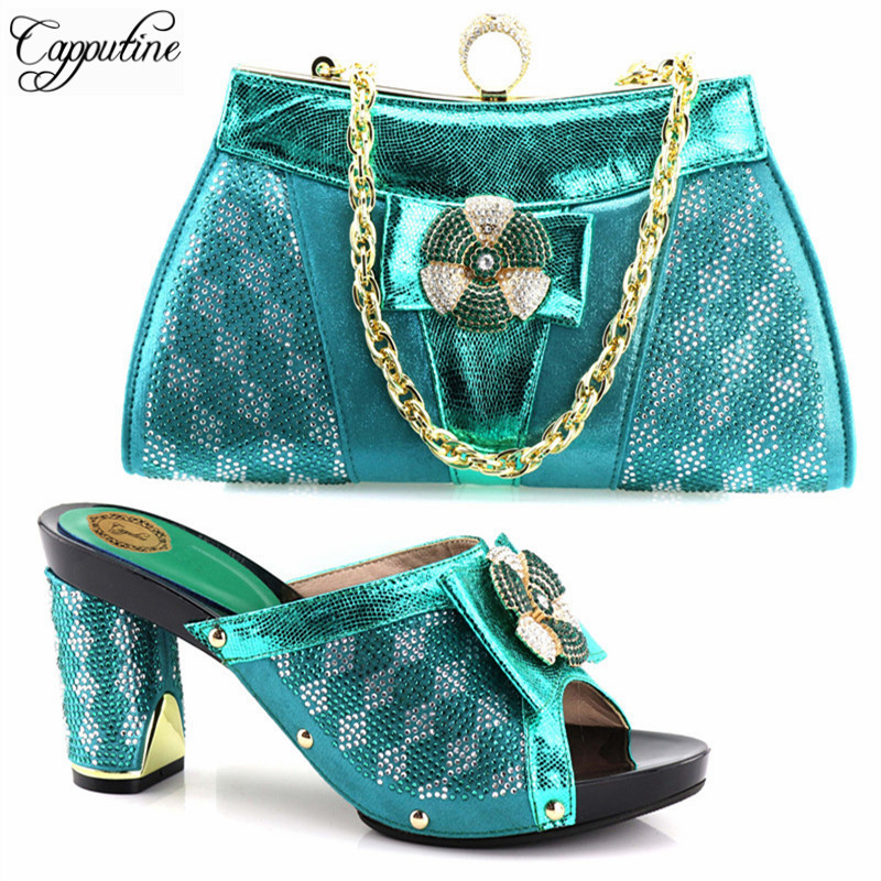 Capputine Hot Sale Fashion Woman Pumps Shoes And Bags Set African Style Rhinestone Hiht Heels Shoes And Bag Set For Party Dress capputine africa style shoes and bag set fashion woman high heels pumps shoes and bag set for party free shipping bch 27