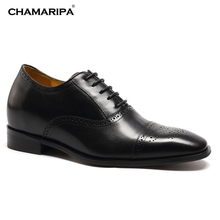 CHAMARIPA Increase Height 7cm/2.76 inch Elevator Shoes for Men Shoes to Add Height Black Calfskin Leather Dress Wedding Shoes