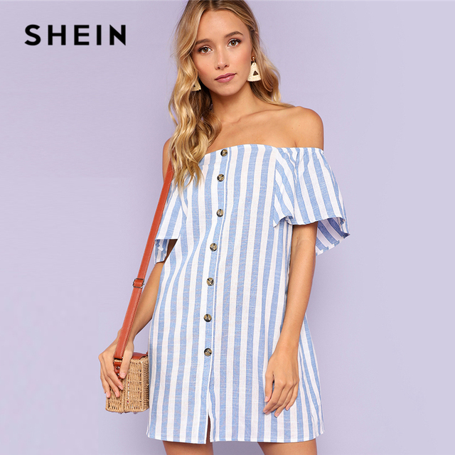 ad16a3edf4 SHEIN Multicolor Vacation Boho Bohemian Beach Striped Off Shoulder Button  Up Short Sleeve Tunic Dress Summer