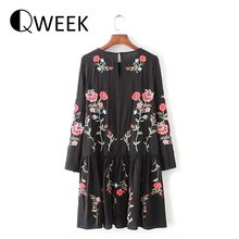 2017 Women Dress Vintage Long Sleeve Flower Floral Embroidery Black Casual Loose Round Collar Ruffle Dresses