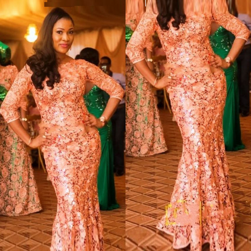 Designer African Evening Gowns With Sleeves Court Train ...
