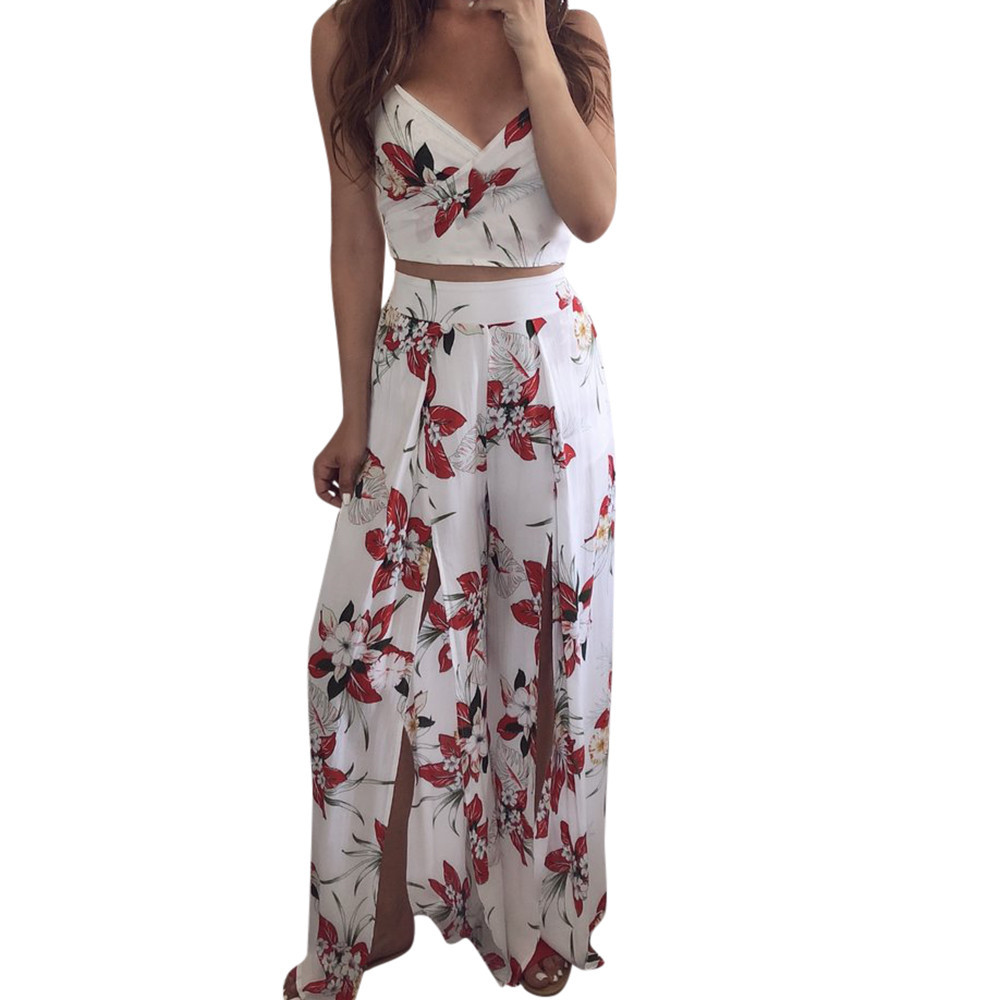 2 Piece Women Summer Jumpsuit V Neck Floral Print Tops With Pants Playsuit Ladies Summer 2 Sets Elegant Rompers Holiday #J29