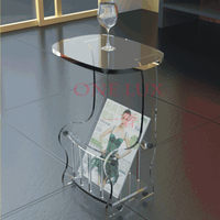 Free shipping ONE LUX Acrylic small tea table with storage basket Lucite Magazine tables|Coffee Tables|Furniture -