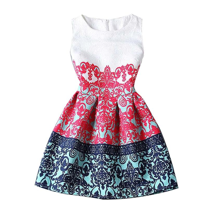 Hot selling new fashion 2016 summer style print dress women sleeveless party dresses floral print dress for girls 21 colors