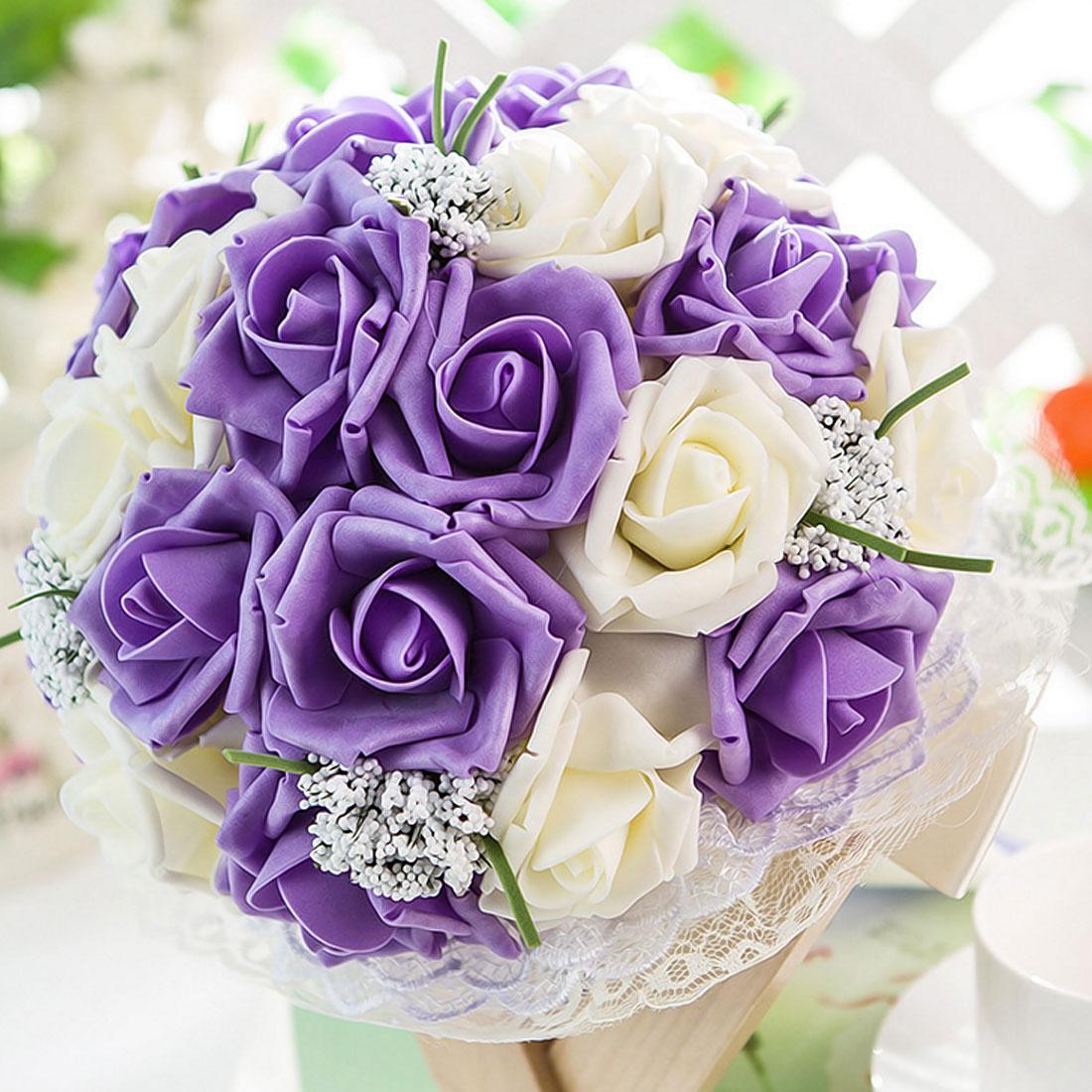 10 Heads 5 Heads 8CM Artificial PE Foam Rose Flowers Bride Bouquet Home Wedding flower Fake Flowers home decoration accessories