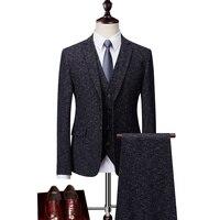 Fashion Business Suit Men 5XL 6XL Mens Wine Red Dark Blue Suit for Wedding Groom Formal Male 3 Pieces Classic Suits Vest Pants