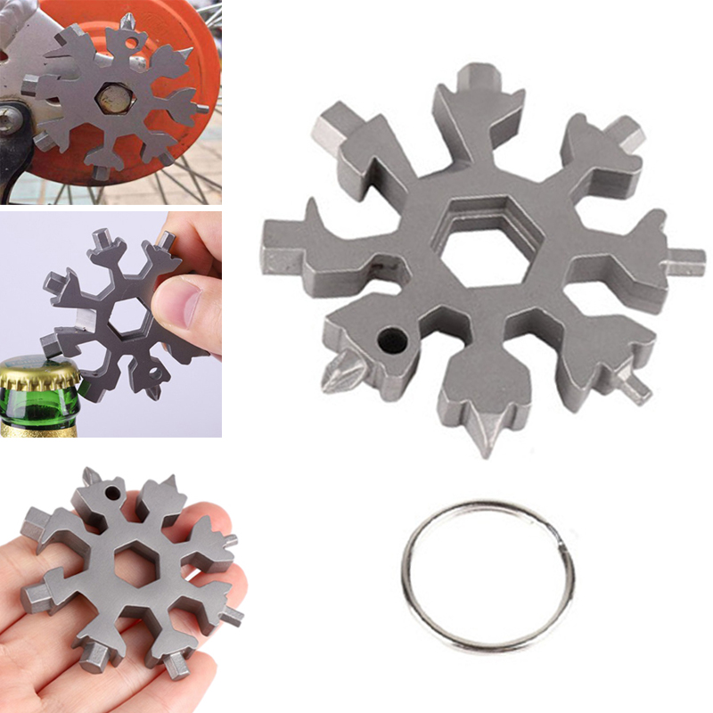 18 In 1 Portable Outdoor Snowflake Multi Pocket Tool Spanner Hex Wrench Keyring