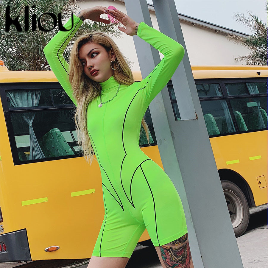 Kliou 2019 new women turtleneck full sleeve fitness playsuit white striped patchwork letter print push up skinny casual bodysuit 100