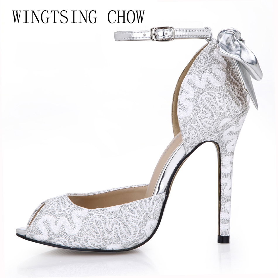 2016 New Silver Sexy Elegant Wedding Party Shoes Women Peep Toe Stiletto High Heels Flower Ladies Pumps Zapatos Mujer 0640C-k4 2017 new ivory sexy wedding bridal shoes women pointed toe stiletto super high heels chain lace lady pumps zapatos mujer 0640 f5