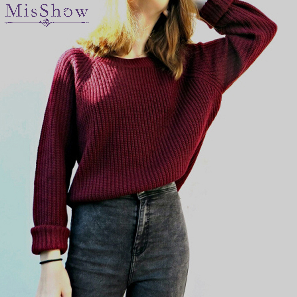 7f38a0aabc Hot Burgundy knitting Sweater Women Pull Femme Jumper Womens crop Sweaters  Pullover Female Autumn Knit Casual