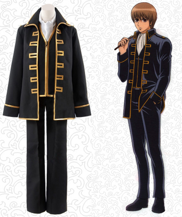 Gintama Silver Soul Shinsengumi Uniform Cosplay Costume Okita Sougo Full Set Costumes ( Jacket + Vest + Pants + Scarf )