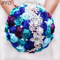 Narzeczona gospodarstwa kwiaty, New arrival Romantyczny Ślub Kolorowe Wzrosła Narzeczonej Bukiet, Królewski niebieski turkusowy fioletowy broszka bukiety ślubne