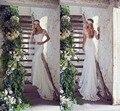 2015 nuevo piso longitud del tren del barrido del cordón del amor Appliqued manga corta de 2015 vestido de novia Vestidos de casamento