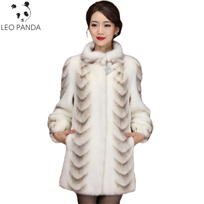 Kadın Giyim'ten Gerçek Kürk'de Üstün Kalite Gerçek Vizon Kürk Ceket Kadınlar 2019 Yeni Kış Tam Kollu Kalınlaşmak sıcak Uzun Hakiki Doğal Kürk Palto Artı boyutu 3XL'da  Grup 1