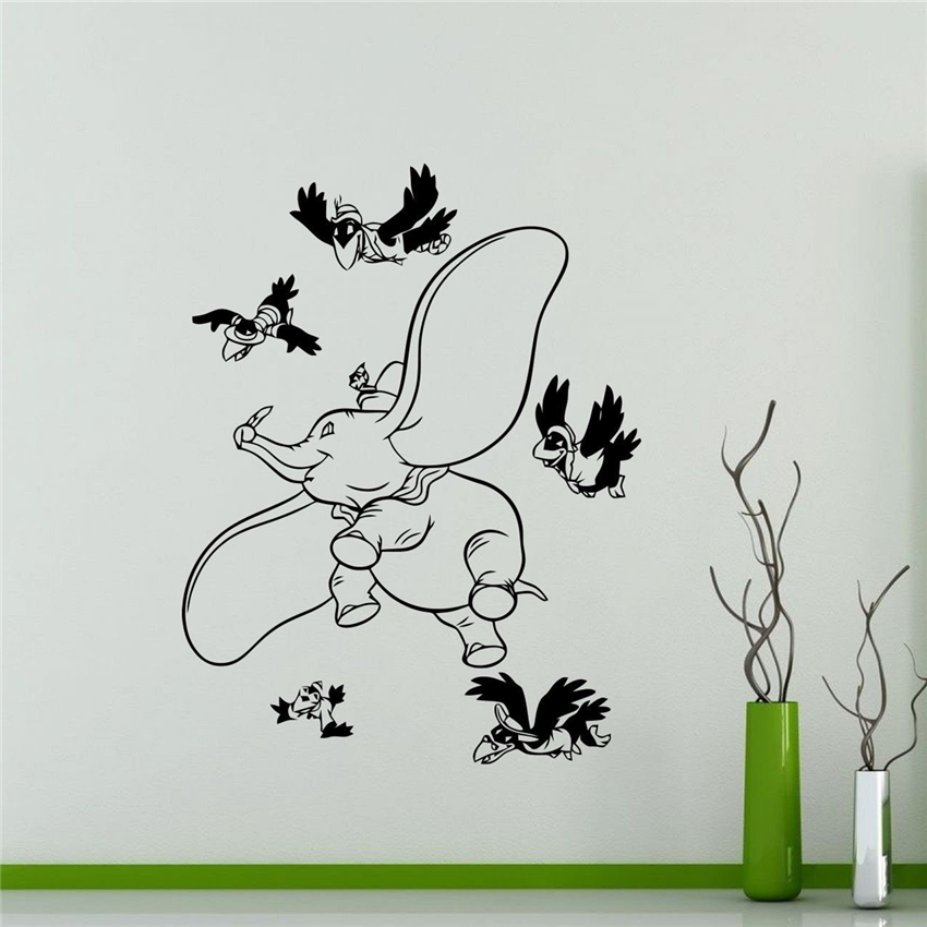 Us 8 89 Cute Diy Art Decor Dumbo Elephant Wall Sticker Vinyl Decal Nursery Kids Room Removable Decals M665 In Stickers From Home Garden