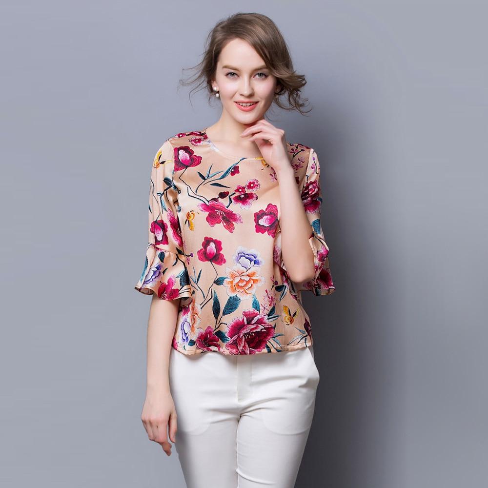 100% Silk Satin Shirt Women Summer Shirt Mulberry Silk Fabric Printed Floral Pattern China Silk Supplier