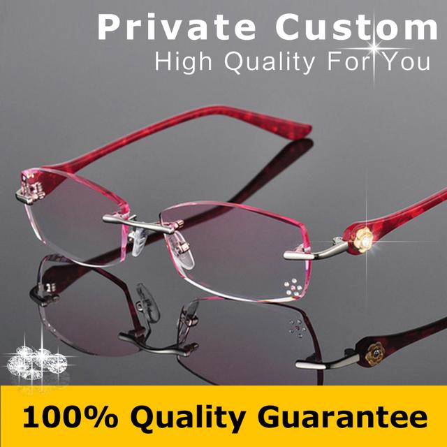 Mujeres Moda Gafas Anteojos Sin Montura de Diamante Decoraciones Gafas de La Miopía Del Marco Óptico de Lectura Personal Personalizado 616