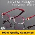 Mulheres Moda Óculos Óculos Sem Aro Moldura Decorações Diamante Frame Ótico Miopia Óculos de Leitura Pessoal Personalizado 616