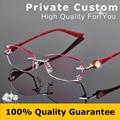 Women Fashion Glasses Rimless Eyeglasses Frame Diamond Decorations Optical Frame Reading Glasses Myopia Personal Customized 616