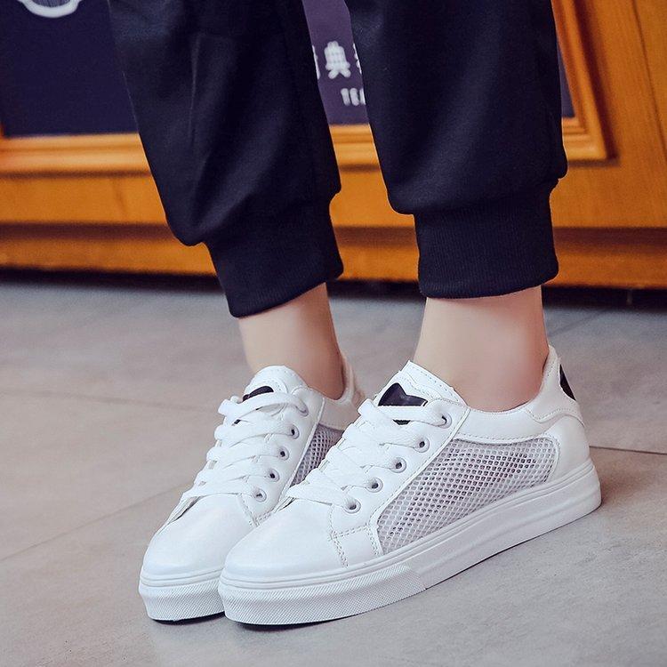 XEK 2018 Spring White Sneakers For Women Comfortably Lace-up Flats Shoes Woman Sneakers PU Fashion Mesh Casual Shoes Girls JH213