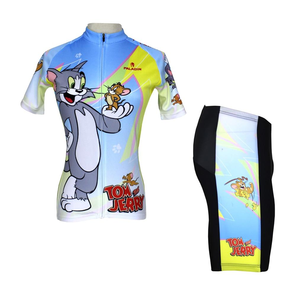 ФОТО Anime Tom and Jerry Cycling Jersey Short Sleeve Women Cycling Clothing Cartoon Cycling Equipment Cycling Sets X099