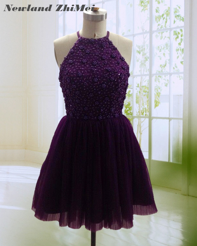 Sexy Above Knee   Cocktail     Dress   2018 Hot Sale Handmade Mini Beading Tulle Open Back Party Gowns Custom Made