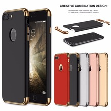 For iphone 8 7 6S X Case Luxury Plating 360 Full Protective Case For iPhone8 7 6 6S Plus XS 3 in 1 Black Matte Hard Phone Cover