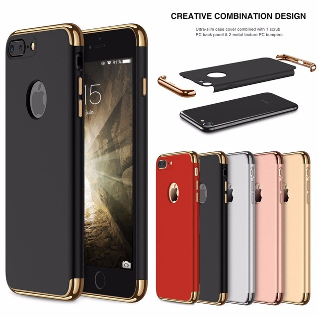 size 40 a7ab2 1ef81 US $2.99 40% OFF|For iphone 8 7 6S X Case Luxury Plating 360 Full  Protective Case For iPhone8 7 6 6S Plus XS 3 in 1 Black Matte Hard Phone  Cover-in ...