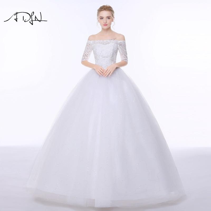 06058ac9a3196 ADLN قارب الرقبة منتفخ فساتين الزفاف مع نصف كم تول الكرة ثوب الأميرة الصين  فستان زفاف Vestidos دي كاسامنتو.