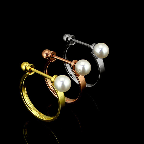 New Brand Men And Women Rings Couple Gold/Rose Plated Stainless Steel High Polished Luxury pearl Jewelry Wholesales