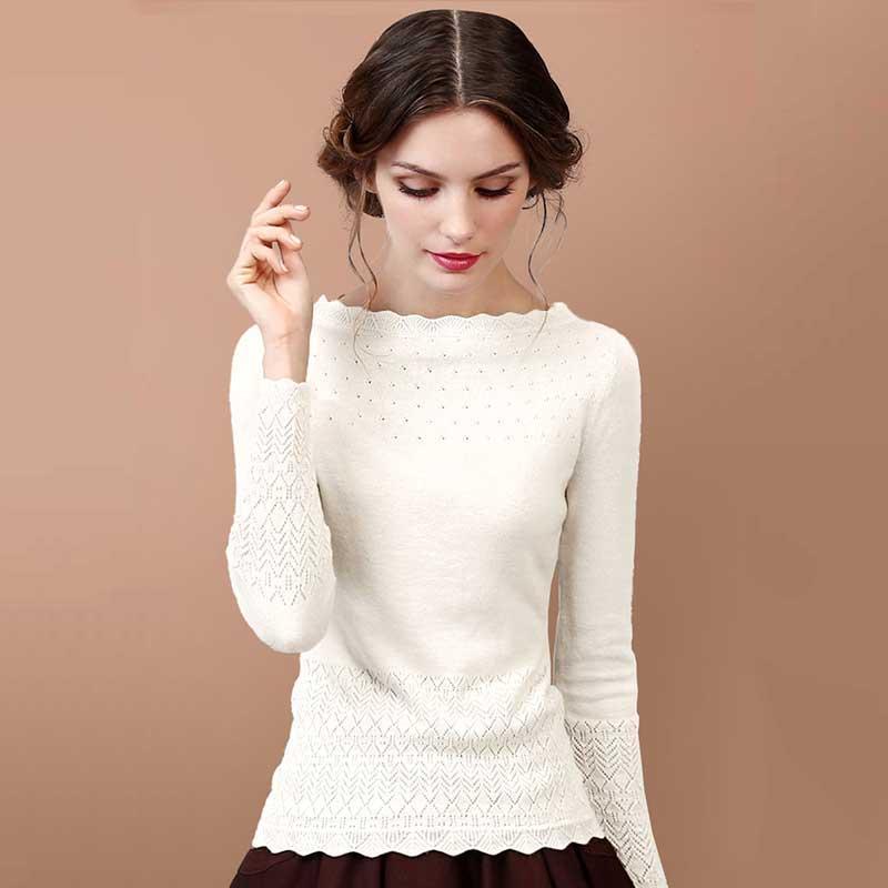 ARTKA 2018 Women s Long Wool Lace Sweater Autumn Long Sleeve Wool Pullover Winter Sweater Vintage
