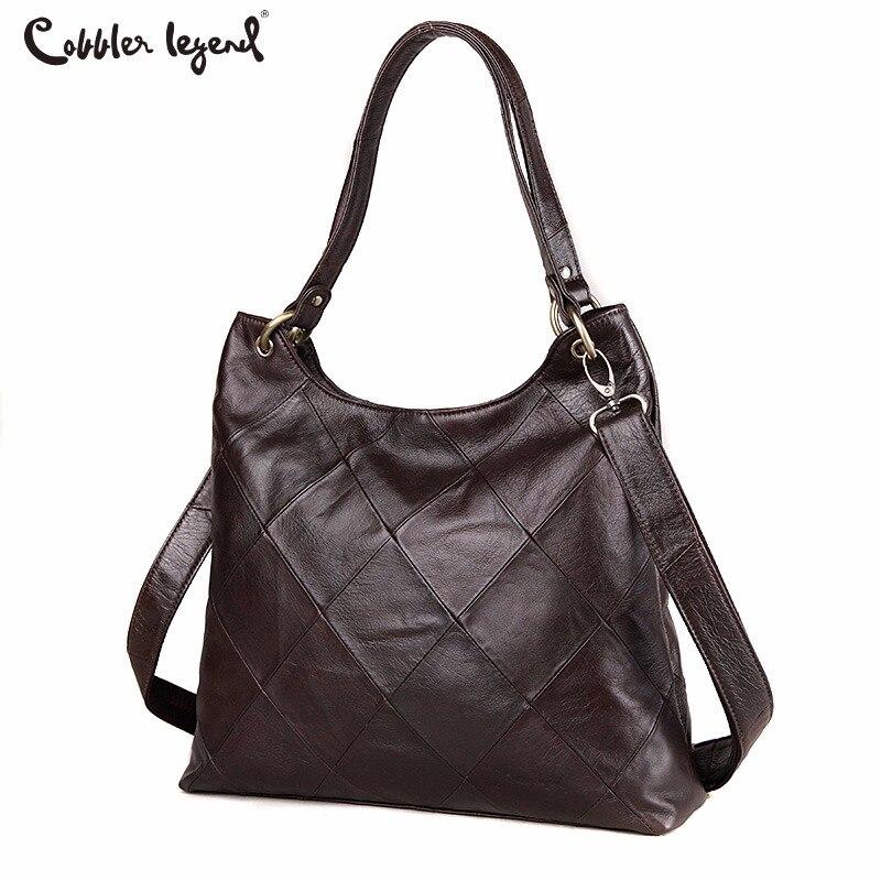 Cobbler Legend Diamond Genuine Leather Luxury Handbags Women Tote Bags Metal Ring Designer Casual Big Shoulder Crossbody