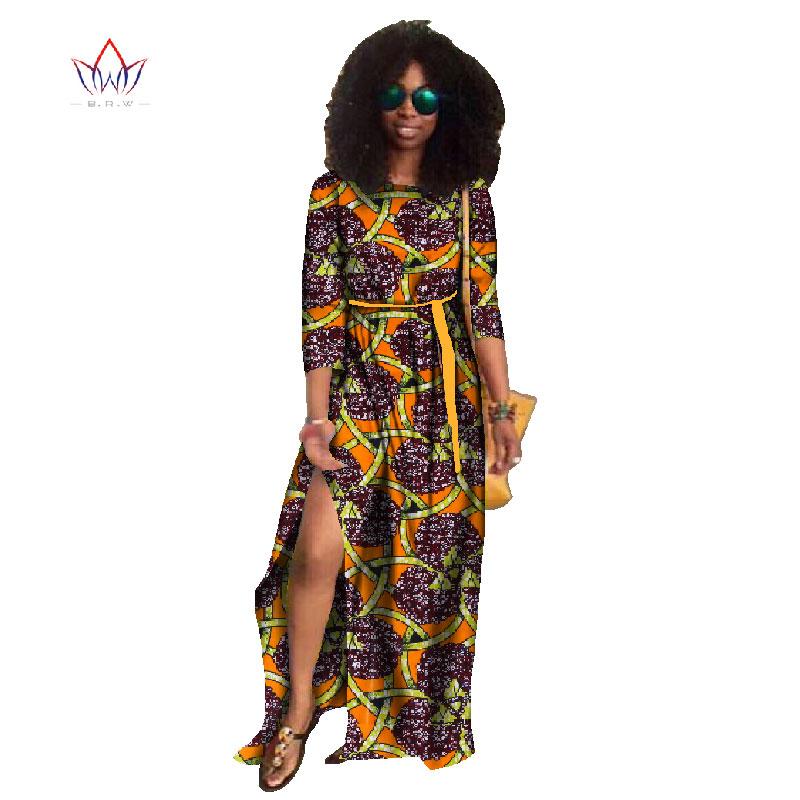 b7e3490dec25e 2019 Spring clothes african women three-quarter sleeve african bazin  dresses for women O-Neck robe wax africain dress 5xl WY741