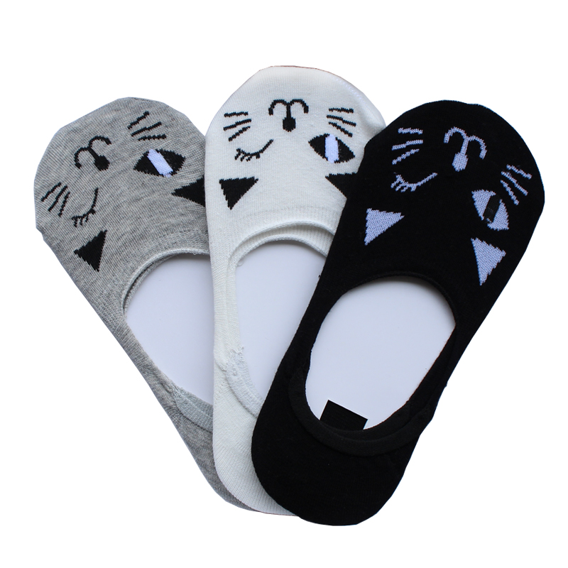 Sock Slippers Socks Of Cat Design Hidden Flat Boat Line Women Casual Invisible Ankle Low ...
