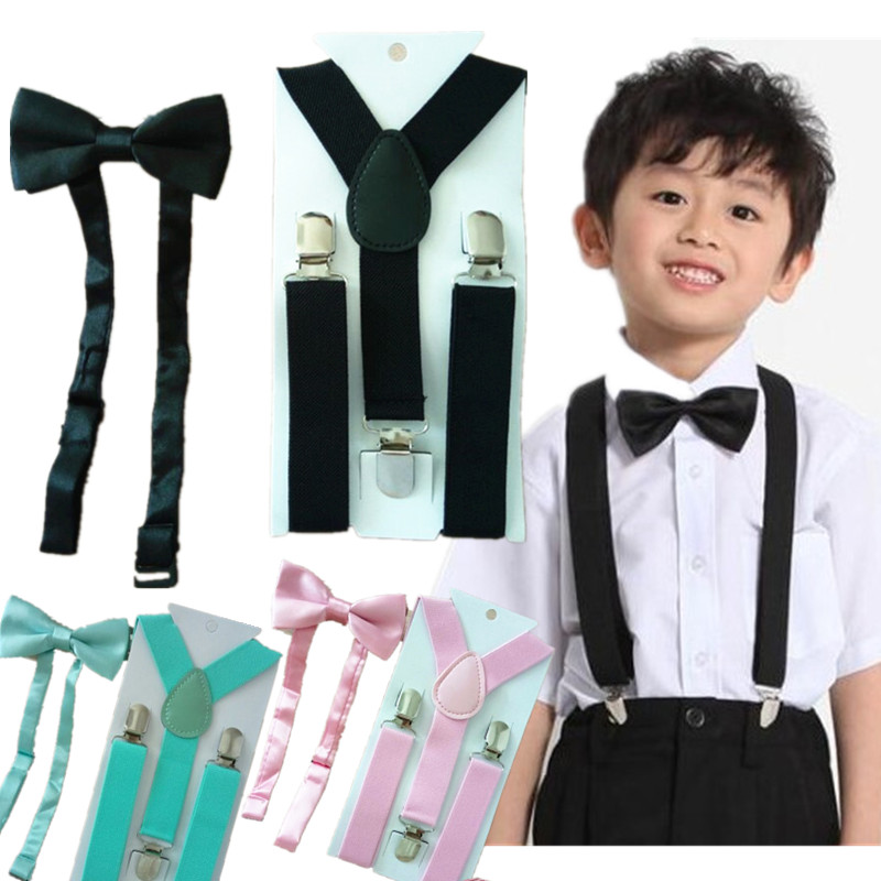 LB001-S Size Candy Color Children Supenders And  Bowtie Sets Y-back Braces For Wedding Free Shipping
