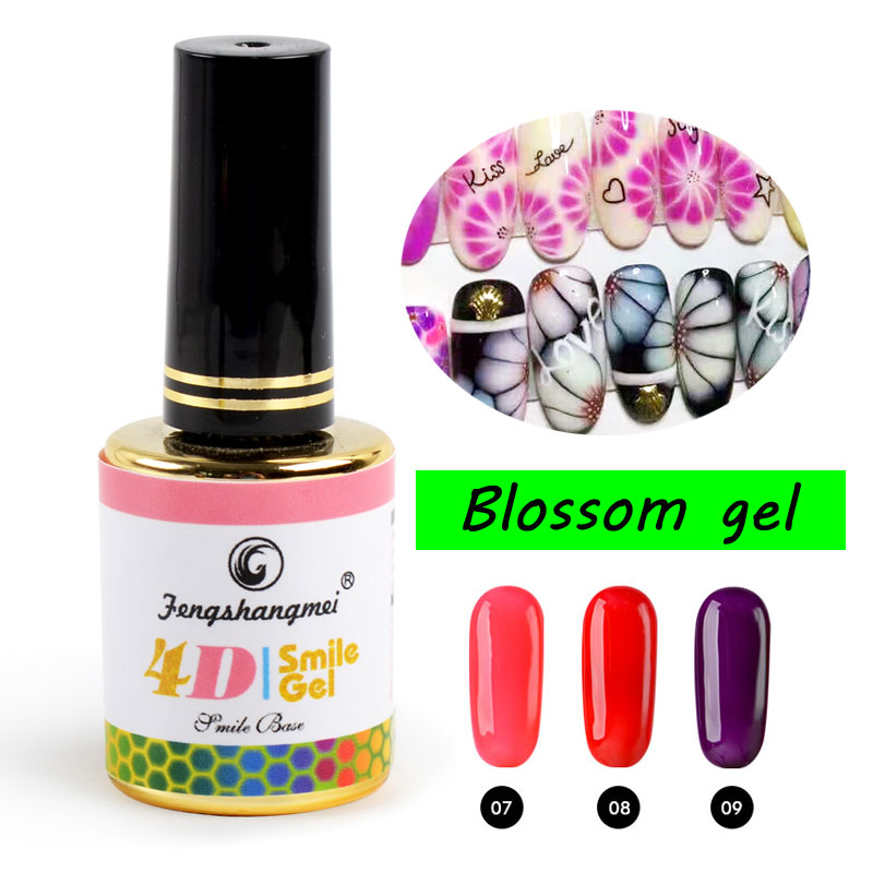 fengshangmei 12ml Rose Gel Nagellack Blomsterkonst Design Blommande Gel Lack Popular Soak Off Blossom Gel