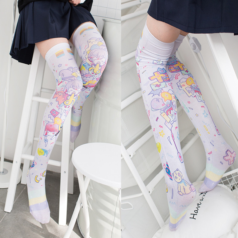 New Socks Fashion Stockings Casual Polyester Thigh High Over Knee High Socks Girls Womens Female Long Knee Sock 2019 5S-SW08