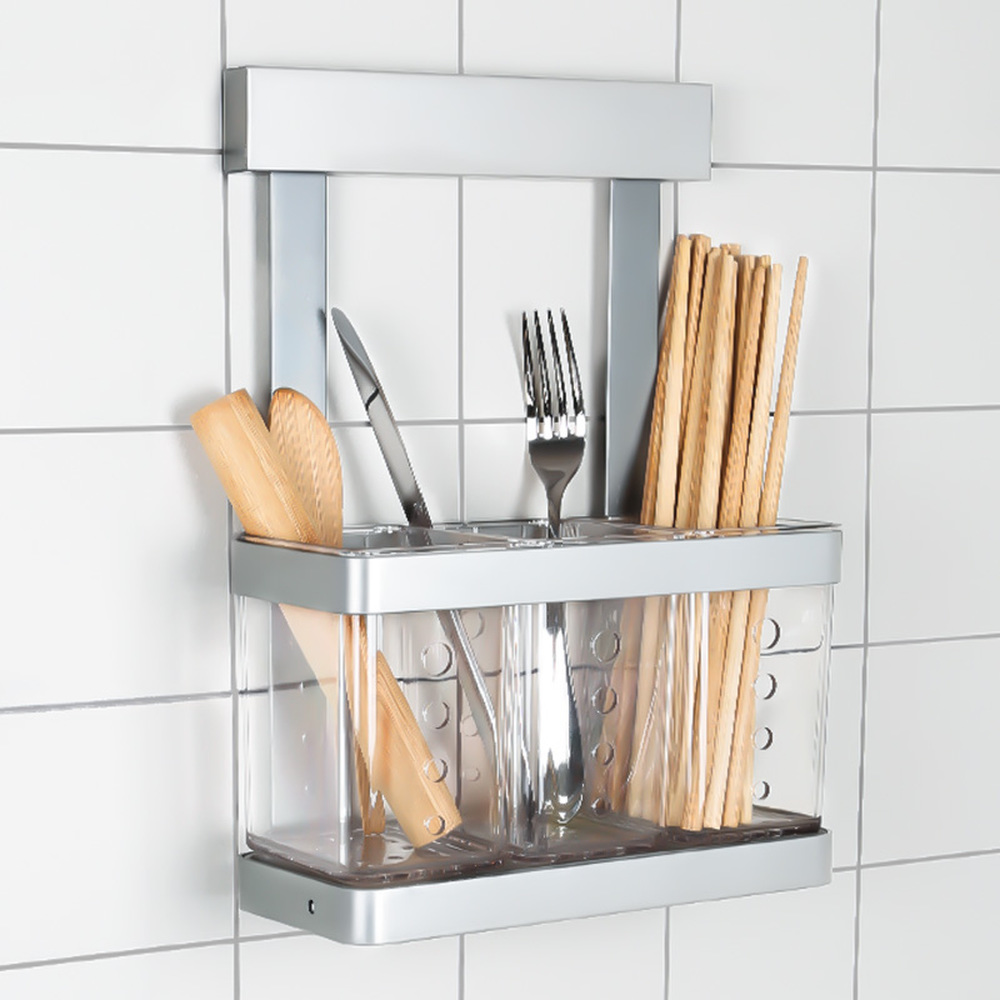 Multi-function stainless steel kitchen wall-mounted chopsticks storage rack spoon chopsticks cage drain shelves wx8071145 smiley pattern stainless steel birch kitchen spoon bronze silver