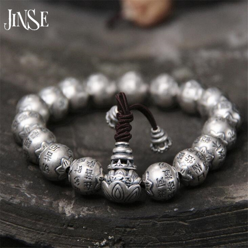 JINSE Traditional 925 Silver Buddhism Thai Silver Bracelet Men Mantras Heart Sutra 12mm Beads Charms Bracelet Wholesale 64G