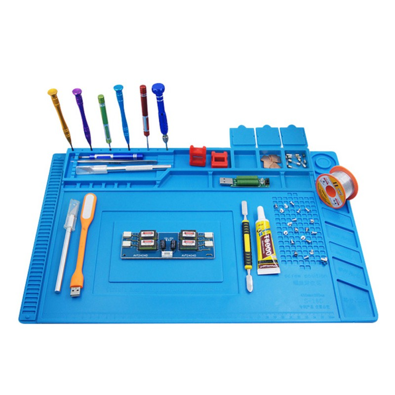 450*300 mm Heat Insulation Pad Silicone Table Welding Maintenance Repair Station With Magnetic Section