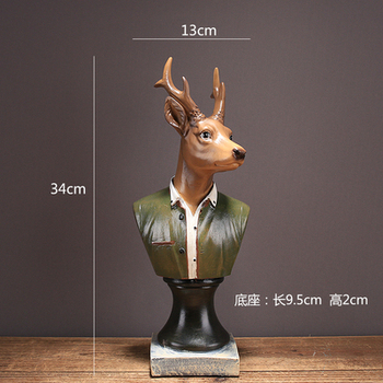Nordic American creative vintage gentleman deer bust like resin furniture furnishing cabinet wine cabinet TV creativ decoration