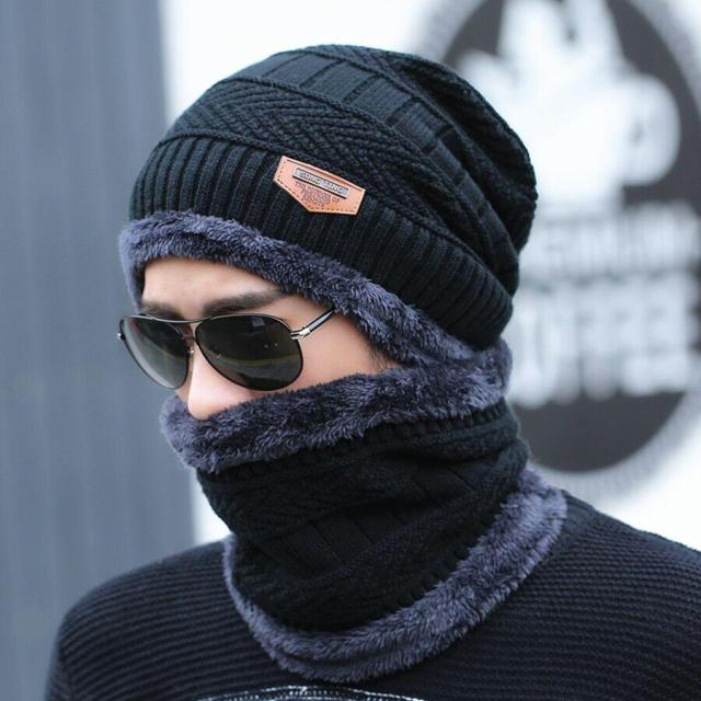 Neck warmer winter knit scarf Hats For men