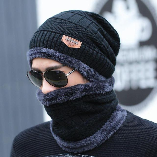 Men's Knitted Winter Beanie and Scarf