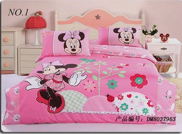 Minnie Mouse Bedding Sets Kids Print Set 4pcs Bedclothes 100 Cotton Duvet Comforter