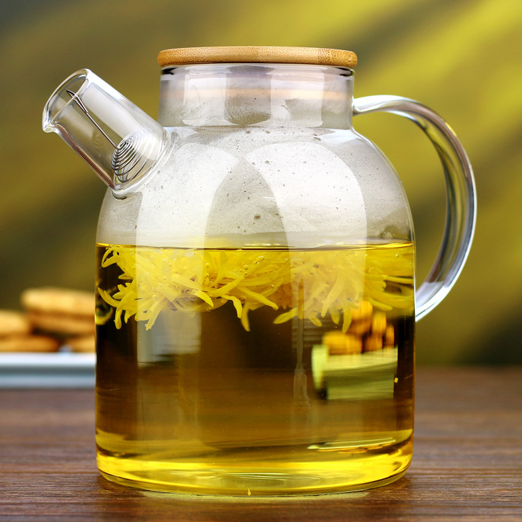 2016 New Heat resistant Glass Flower Tea Pot With Wooden Lid Chinese Kung Fu Water Teapot
