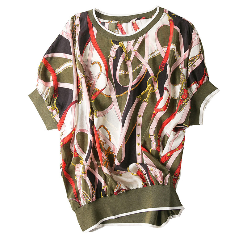 The new spring and summer 2019 women s clothing collar even shoulder chain printed pure silk