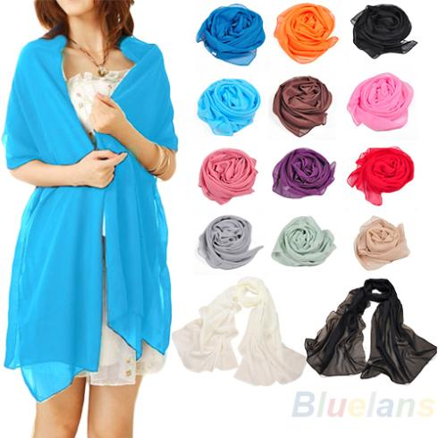 Hot Large Beach Long Chiffon Feel Fashion Neck Head Scarf Scarves Women Fashion Accessories Style Multi Color Pashmina 7ET4 BD27