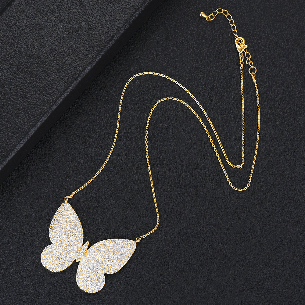 missvikki Big Butterfly Pendant Silver Chain Necklace Fashion Mini Crystal Jewelry Bijoux High Quality Accessories For Women